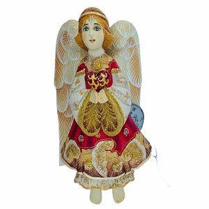 G DeBrekht Russian Angel Christmas Ornament carved